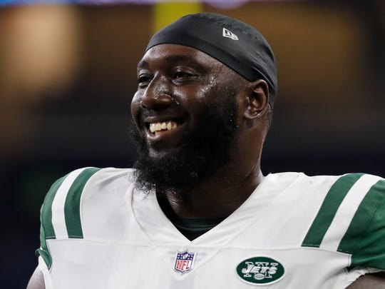 New York Jets defensive end Muhammad Wilkerson during a preseason NFL football game in Detroit, Saturday, Aug. 19, 2017. (AP Photo/Paul Sancya)