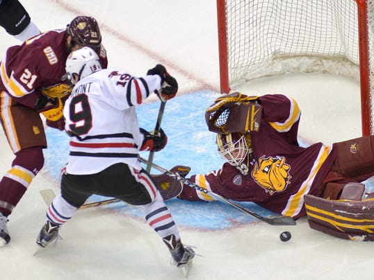 NCHC: Eyssimont Scores 2, SCSU Wins Conference Title