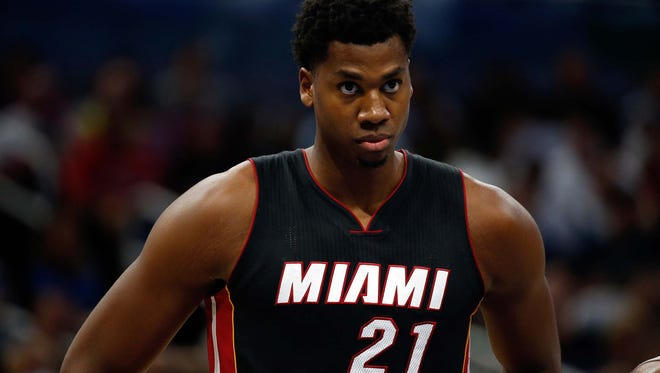 Miami Heat center Hassan Whiteside (21) against the Orlando Magic during the second quarter at Amway Center.