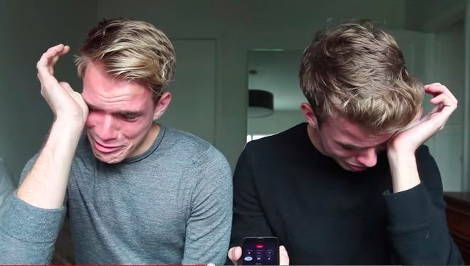 YouTube personalities and models Aaron and Austin Rhodes came out to their father over the phone and filmed it.