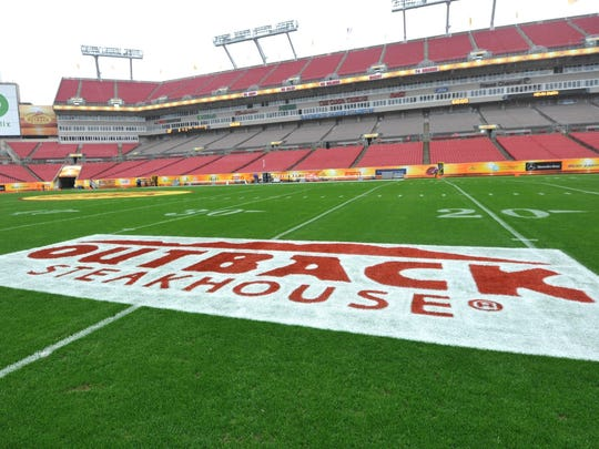 A general view of Raymond James Stadium before the Outback Bowl.