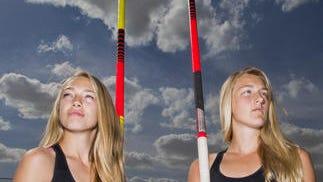 Saguaro junior Justice (left) and senior Athena Masolini are make a move up among top Arizona girl pole vaulters.
