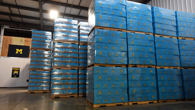Bell's Oberon beer is stacked all over the warehouse at Rave Associates in Ann Arbor, Mich. on March 19, 2015. This year's batch of Oberon will be released March 23.(Robin Buckson / The Detroit News)