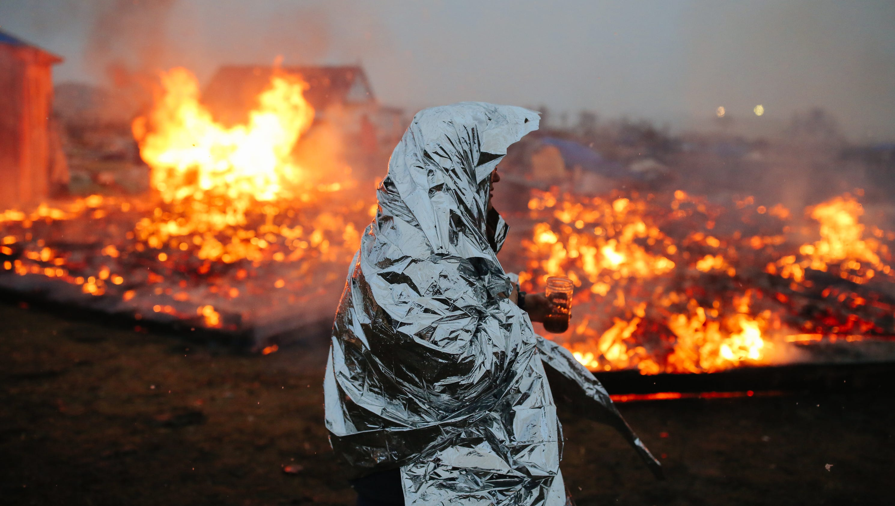 Remnants of pipeline protest camp go up in flames