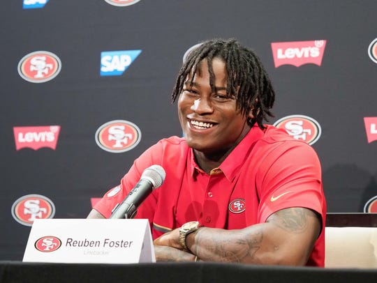 San Francisco 49ers agreed to a contract with first-round draft pick linebacker Reuben Foster in this 2017 file photo.