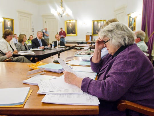 Sen. Ginny Lyons, D-Chittenden, listens as the Legislative Committee on Administrative Rules considers the Public Service Board's proposed sound limits for wind projects during a meeting at the Statehouse in Montpelier on Thursday, June 8, 2017.