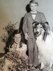 Jeannie Russell visiting the Lassie set and Jon Provost,
