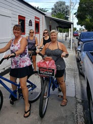 The four Iowa women rode bikes around Key West, Fla.,