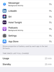 Scroll to the bottom of the battery screen to see usage