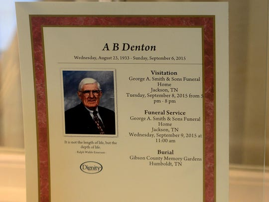 Funeral services were held Wednesday for A.B. Denton at George A. Smith and Sons Funeral Home. Denton died Sunday in Humboldt at 82.