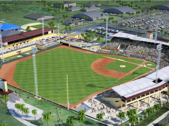 An artist's rendering of the renovated Joker Marchant Stadium, including a restaurant, club and party area, and new seating.