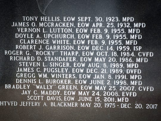 The names of emergency personnel that have died in