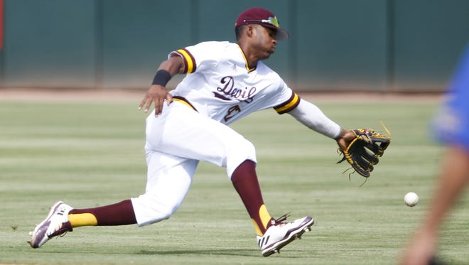 ASU junior second baseman Taylor Lane (47) dives for a ground ball during a game against CSU Bakersfield at Phoenix Municipal Stadium on Sunday, April 23, 2017. The Roadrunners defeated the Sun Devils 8-6.