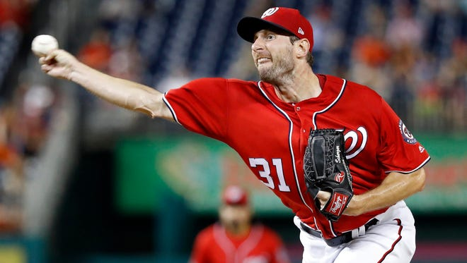 Nationals starting pitcher Max Scherzer delivers against the Giants at Nationals Park in Washington on Aug. 13.