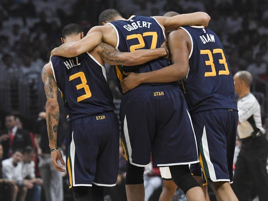 USP NBA: PLAYOFFS-UTAH JAZZ AT LOS ANGELES CLIPPER S BKN LAC UTA USA CA