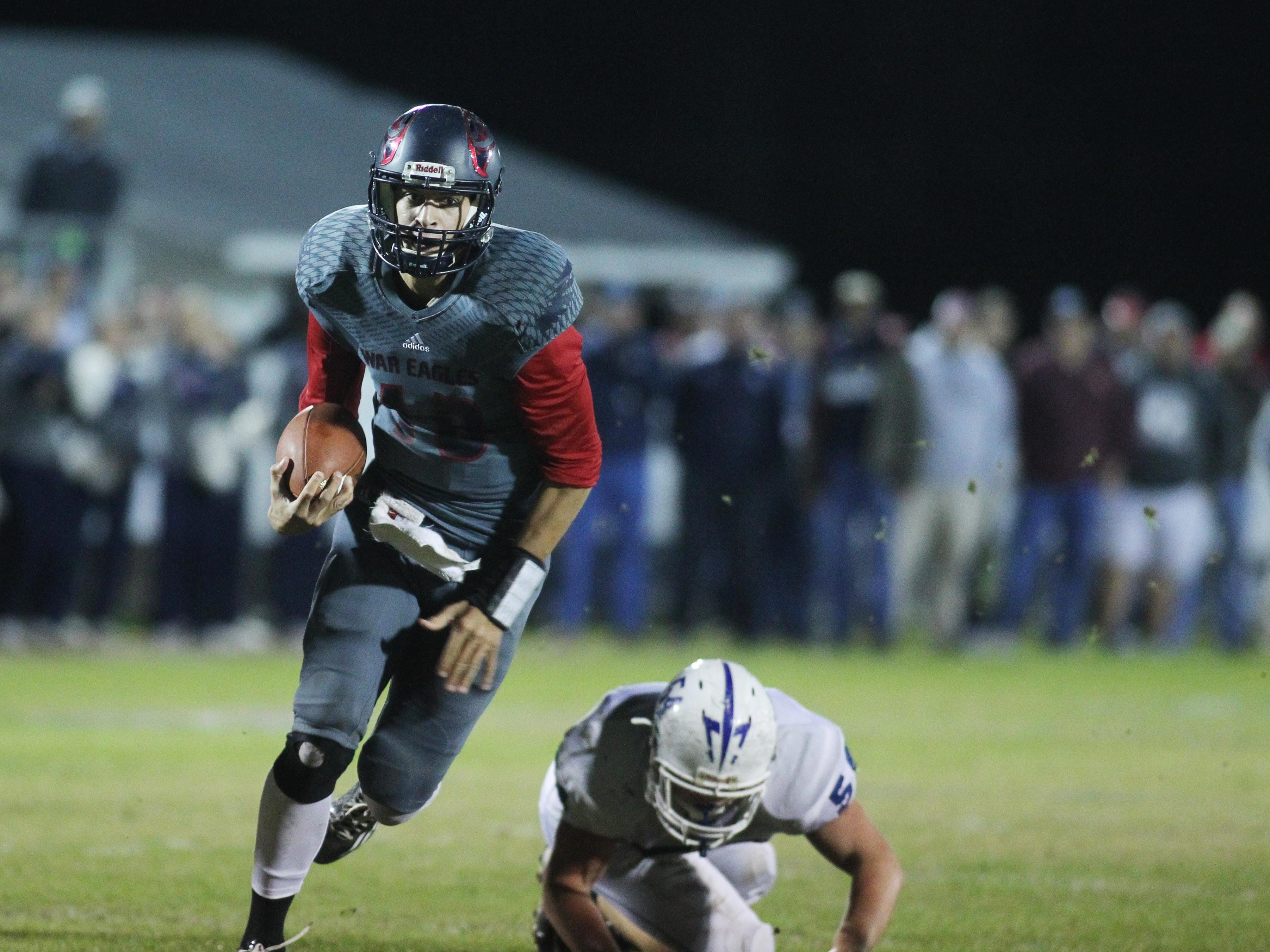Wakulla quarterback Feleipe Franks used his legs to rush for 59 yards during Friday's Class 5A state semifinal win over Clay, but he also completed 9 of 12 passes for 175 yards and three touchdowns.