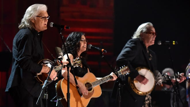 Ricky Skaggs, Sharon White and Ry Cooder perform at the Ryman Auditorium seven months ago.