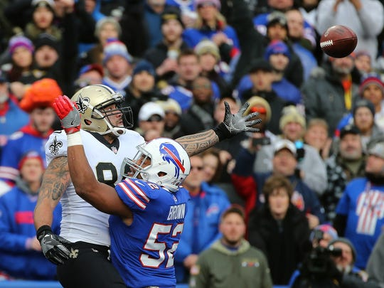Bills Preston Brown is called for pass interference against Saints Michael Hoomanawanui.