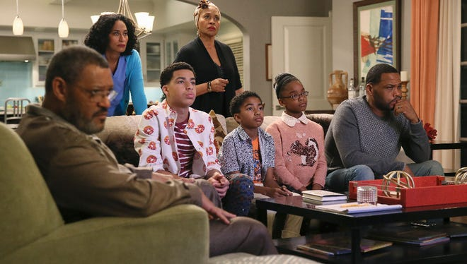 A new episode of ABC's 'Black-ish' tackles police brutality through the perspective of the Johnson family (from left: Laurence Fishburne, Tracee Ellis Ross, Marcus Scribner, Jenifer Lewis, Miles Brown, Marsai Martin, and Anthony Anderson).