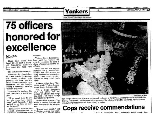 A news clipping from when then-Sgt. Joseph Barca was honored for saving the baby's life.