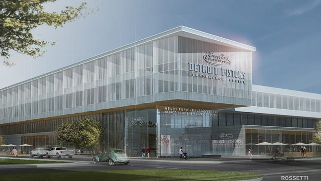 This rendering shows the Detroit Pistons proposed practice facility in the New Center area.