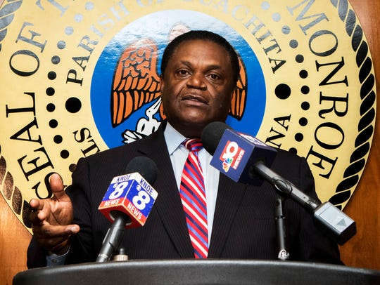 Mayor Jamie Mayo answers questions during a press conference