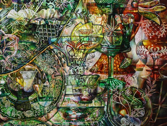 Robin Jebavy uses glassware imagery in her paintings.