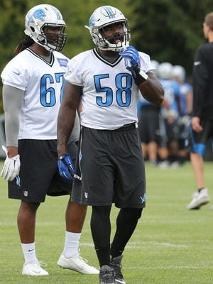 Detroit Lions defensive end Phillip Hunt goes through drills on Wednesday, Aug. 26, 2015, at the practice facility in Allen Park.