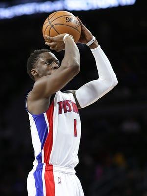 Jan 18, 2017; Auburn Hills, MI, USA; Pistons guard Reggie Jackson shoots during the second quarter against the Atlanta Hawks at the Palace.