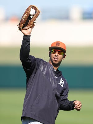Tigers outfielder Anthony Gose takes part in drills during spring training Feb. 20, 2017 in Lakeland, Fla.