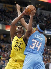 Indiana Pacers center Myles Turner (33) attempts a