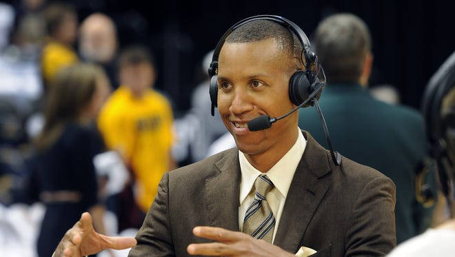 FILE - Former Pacer great Reggie Miller, now works for TNT, does a TV spot before the Pacers and Heat game. Indiana Pacers play the Miami Heat in Game 3 of the Eastern Conference Finals May 26, 2013, at Bankers Life Fieldhouse.