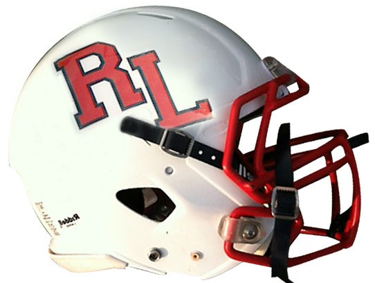 Red Land football helmet.