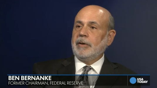 Ben Bernanke in a recent interview with USA TODAY's Susan Page.