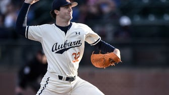 Auburn ace RHP Casey Mize (32) pitches 7 1/3 innings in a 5-2 win over Missouri on Friday, March 30, 2018, in Auburn, Ala.