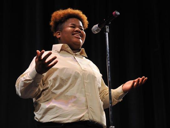 Vineland High School senior Brianna Roland recites