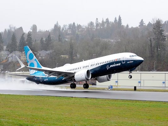 A Boeing 737 Max with the Leap engine takes off outside Seattle.