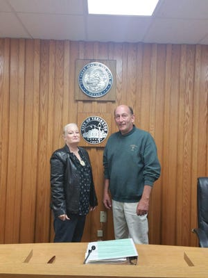 New Yerington City Councilwoman Selena Catalano stands with Mayor George Dini. Catalano will attend her first meeting as a council member on Nov. 14.