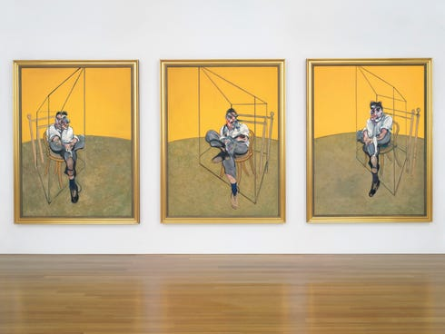 Francis Bacon's 1969 triptych 'Three Studies of Lucian Freud.'