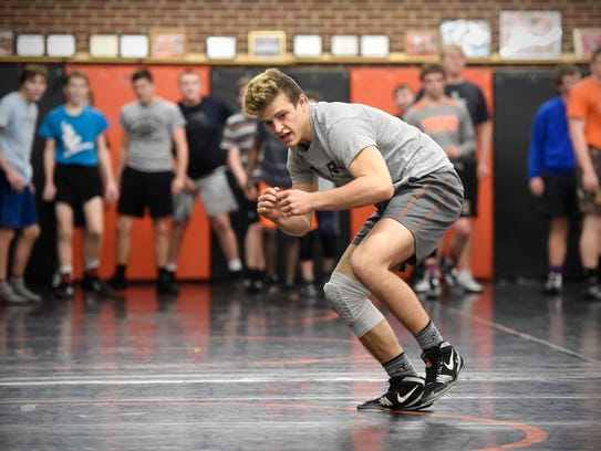 St. Cloud Tech's Austin Brenner completes a drill during