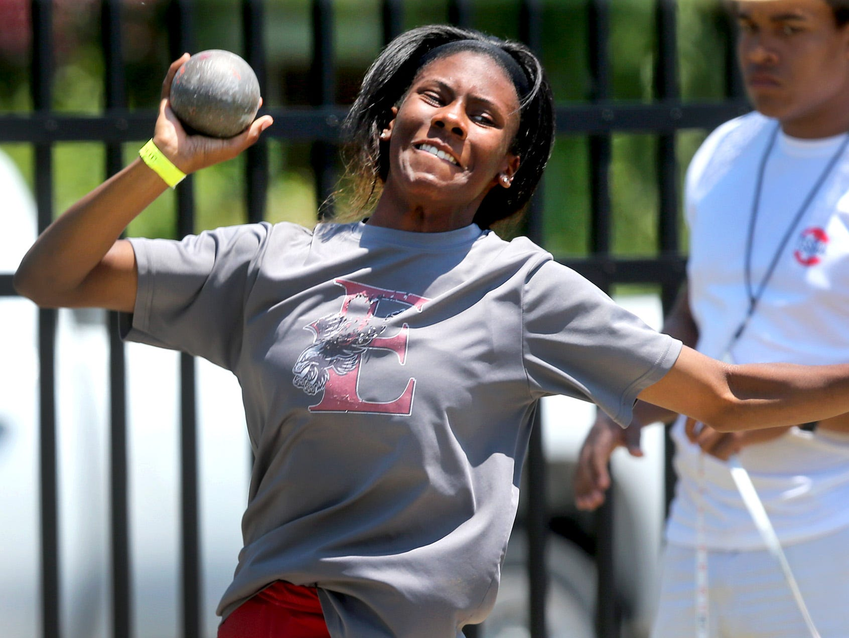 East Nashville's Grenetria Shell throws the shot put during the Spring Fling Girls Outdoor Pentathlon A-AA on Monday, May 23, 2016.