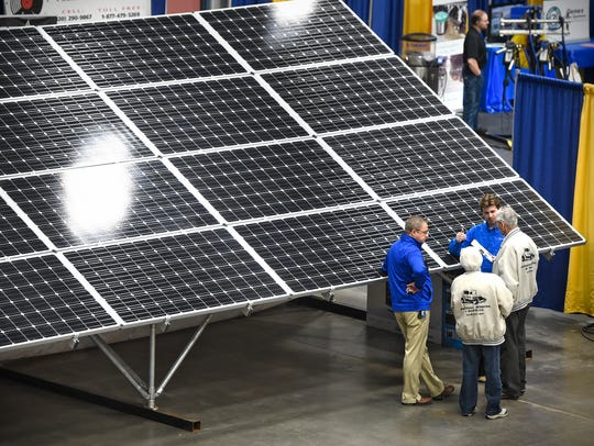 A solar panel is on display Tuesday, Feb. 28, during