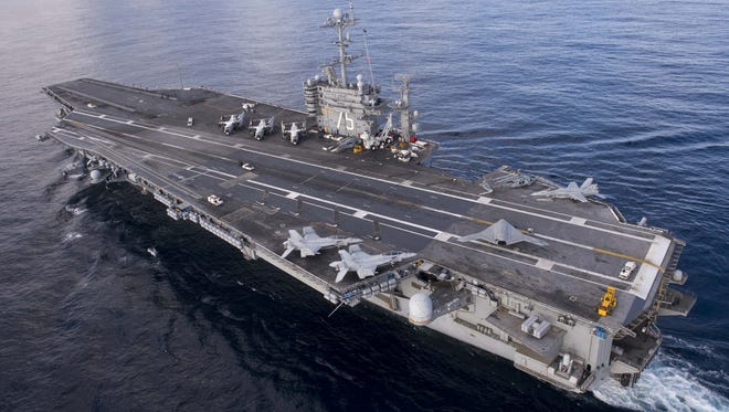 This handout from the U.S. Navy shows the aircraft carrier USS Harry S. Truman Dec.  9, 2012 in the Atalntic Ocean.