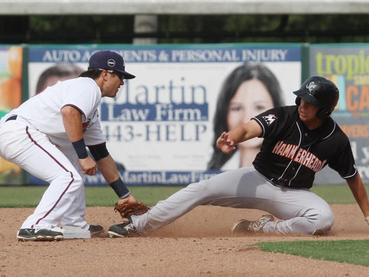 Tanner Vavra, of the Fort Myers Miracle, tags Jupiter's Dean Austin at 2nd base during a game at Hammond Stadium on Sunday.