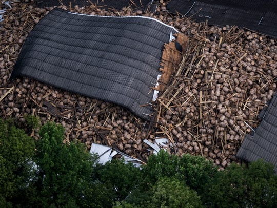 An aerial view of the fully collapsed bourbon-aging barn at the Barton's 1792 distillery in Bardstown, Kentucky. After half of the barn collapsed on June 22nd, the other half collapsed on the Fourth of July holiday. July 5, 2018