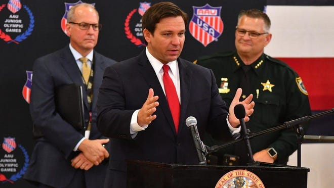 """At a Thursday news conference in Viera Gov. Ron DeSantis announced his plan to reopen schools at """"full capacity"""" in the fall."""