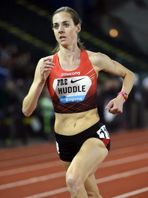 Molly Huddle places 11th in the women's 5,000 meters in 14:48.14 during the Prefontaine Classic at Hayward Field on Friday night.