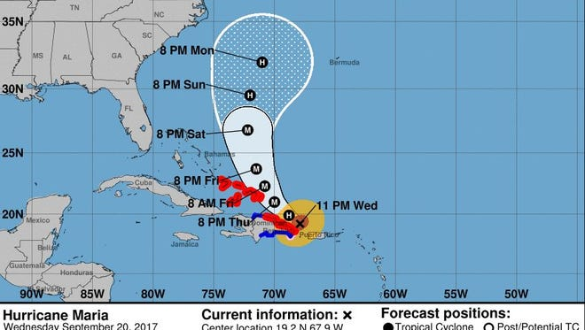 The official track for Maria as of 11 p.m. Wednesday.