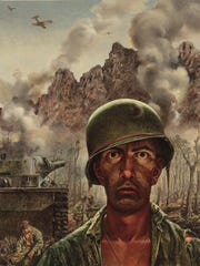 """""""Marines Call It That 2,000 Yard Stare,"""" Tom Lea oil painting, 1944"""