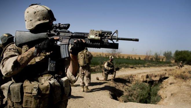 A U.S. soldier in Marjah, Afghanistan, in 2010.